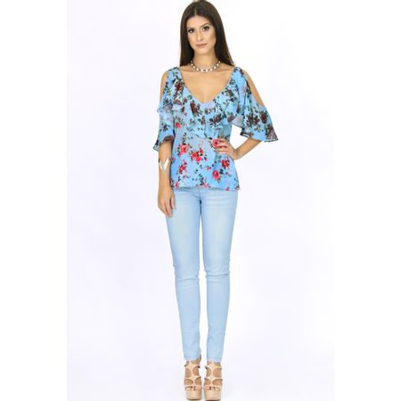 Calça Skinny Jeans Com Detalhe De Ilhós Azul