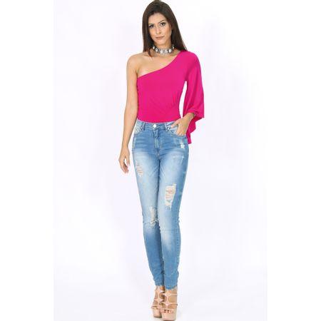 Calça Skinny Jeans Com Flor Bordada Na Perna