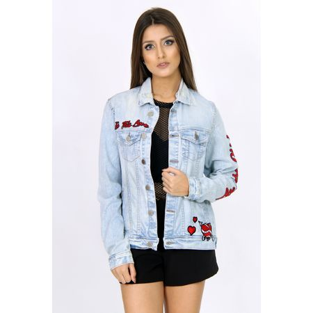 Jaqueta Jeans Com Patch Tropical Pássaro