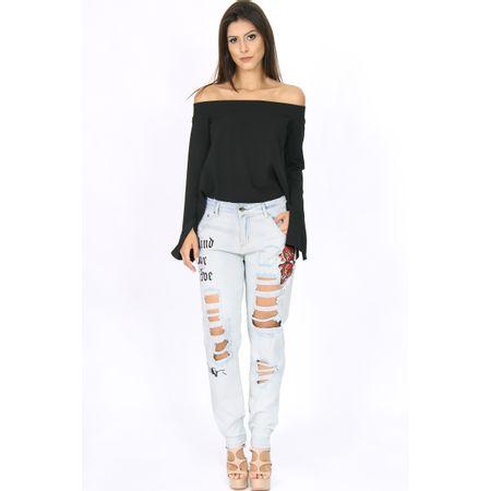 Calça Boyfriend Jeans Cintura Alta