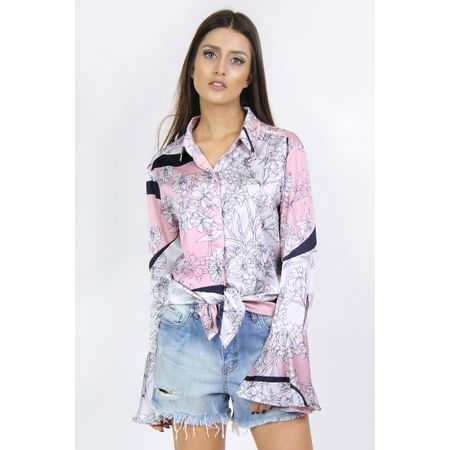 Camisa De Cetim Estampa Floral Rosa