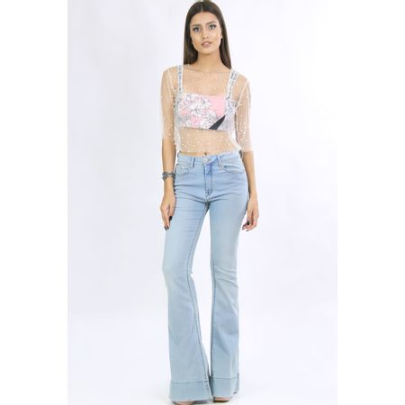 Calça Flare Jeans Com Botão De Strass