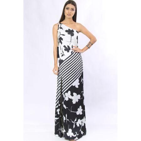 Vestido Longo De Malha Estampa Floral Localizado