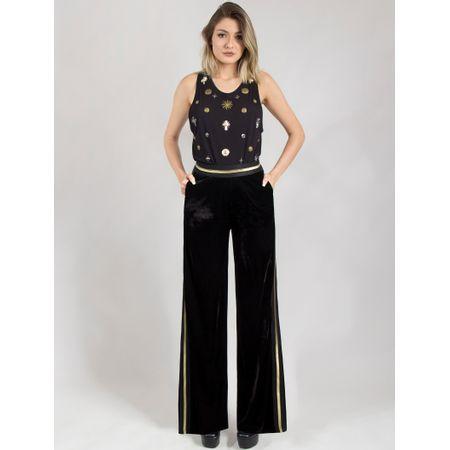 Calça Pantalona De Veludo Com Elástico