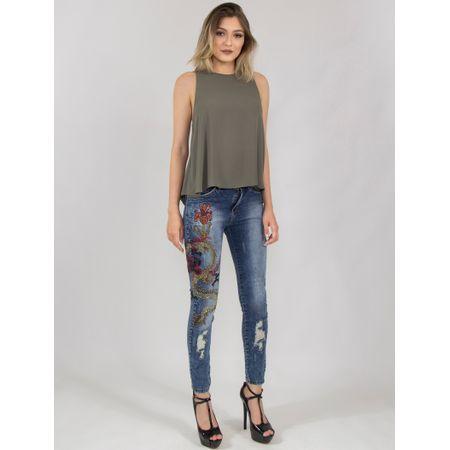 Calça Jeans Skinny Com Bordado De Dragão