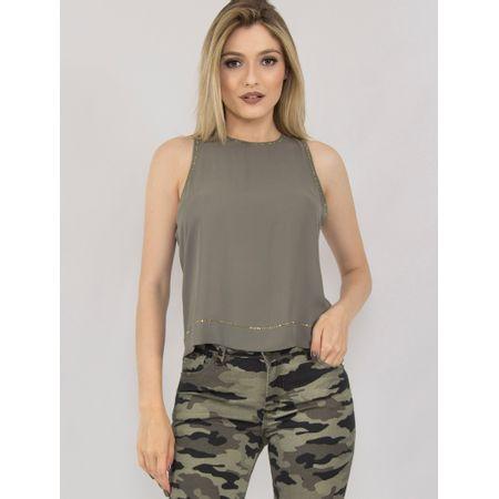 Blusa Crepe Com Transfer Verde Militar