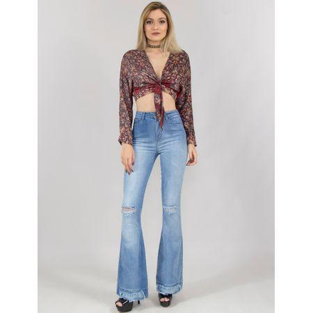 Calça Flare Jeans Com Desfiados Azul