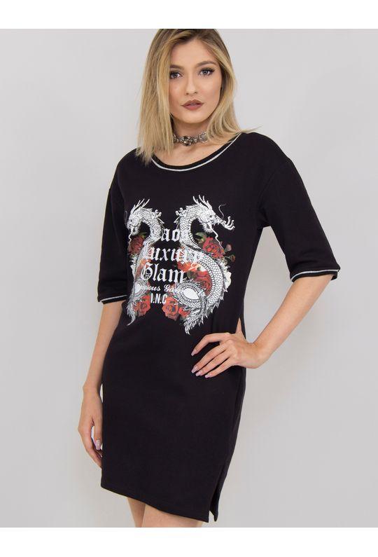 Vestido-Curto-De-Moletom-Com-Silk-Caos-Luxury-Glam