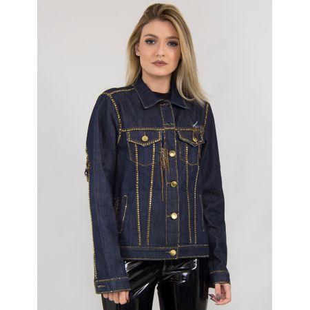 Jaqueta Jeans Com Transfer, Correntes E Patchs