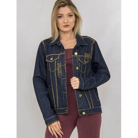 Jaqueta Jeans Com Transfer E Correntes