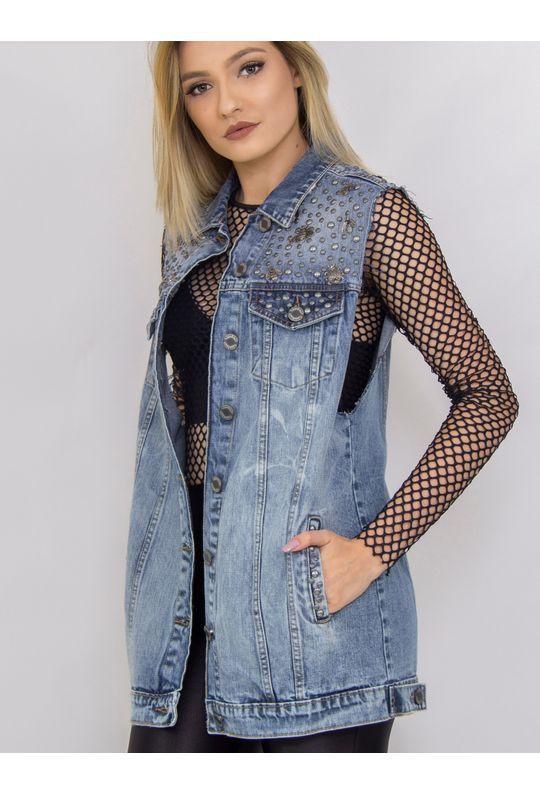 Maxi-Colete-Jeans-Com-Tachas-E-Insentos-De-Metal
