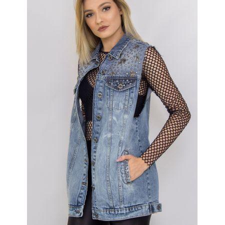 Maxi Colete Jeans Com Tachas E Insentos De Metal