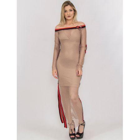 Vestido Longo De Tela Com Retilínea E Bordado