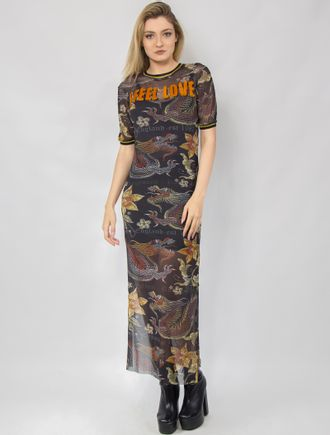 Vestido-Longo-Tule-Dragon-Gold-Estampado