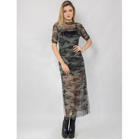 Vestido Longo Tule Camuflado