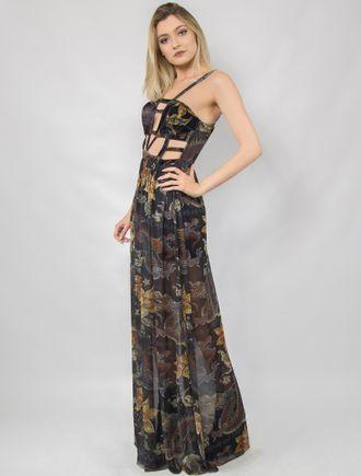 Vestido-Longo-Veludo-e-Tule-com-Recortes-Estampado