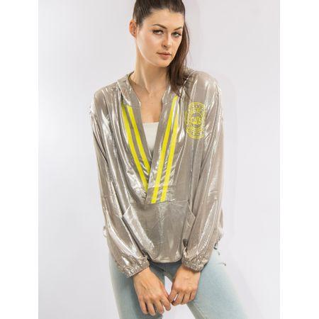 Blusa Metalizada Com Capuz E Silk