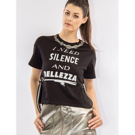 Blusa De Malha Com Silk I Need Silence And Beleza