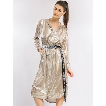 Vestido Curto Metalizado Com Capuz