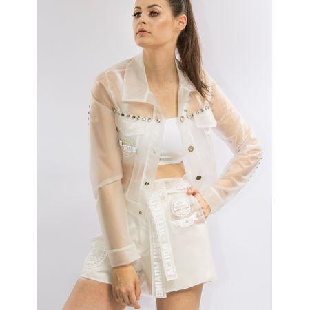 Jaqueta De Plástico Com Adesivo