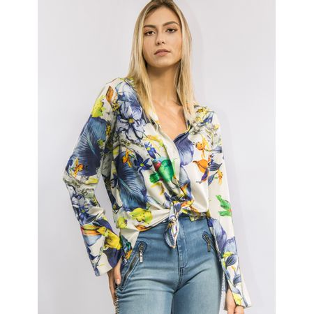 Camisa De Cetim Estampa Flower Bird