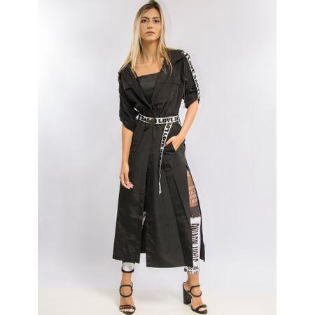 Vestido Longo Com Cinto Elástico Silkado Nas Manga