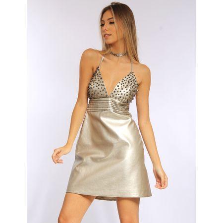 Vestido Curto De Couro Metalizado Bordado