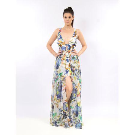 Vestido Longo De Alfaiataria Com Chiffon Flower Bird