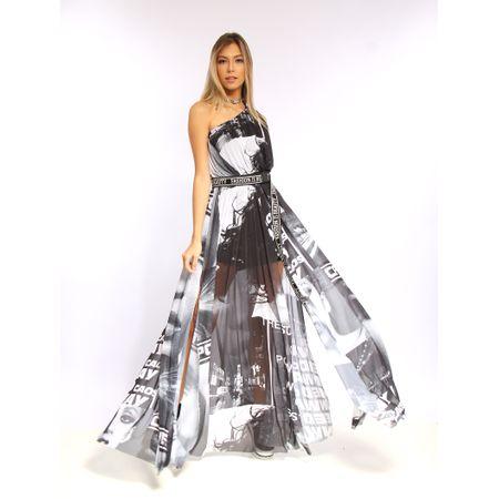 Vestido Longo De Tule Estampa Photo Print
