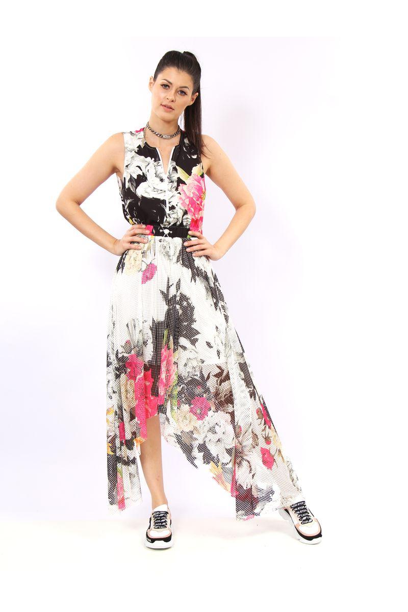 0449ff1d0 Vestido Longuete De Crepe E Tela Estampa Floral White - lojacaos