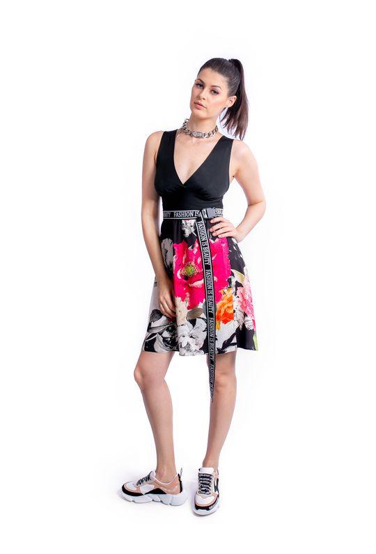 Vestido-Curto-De-Trico-E-Cetim-Estampa-Floral-Whit
