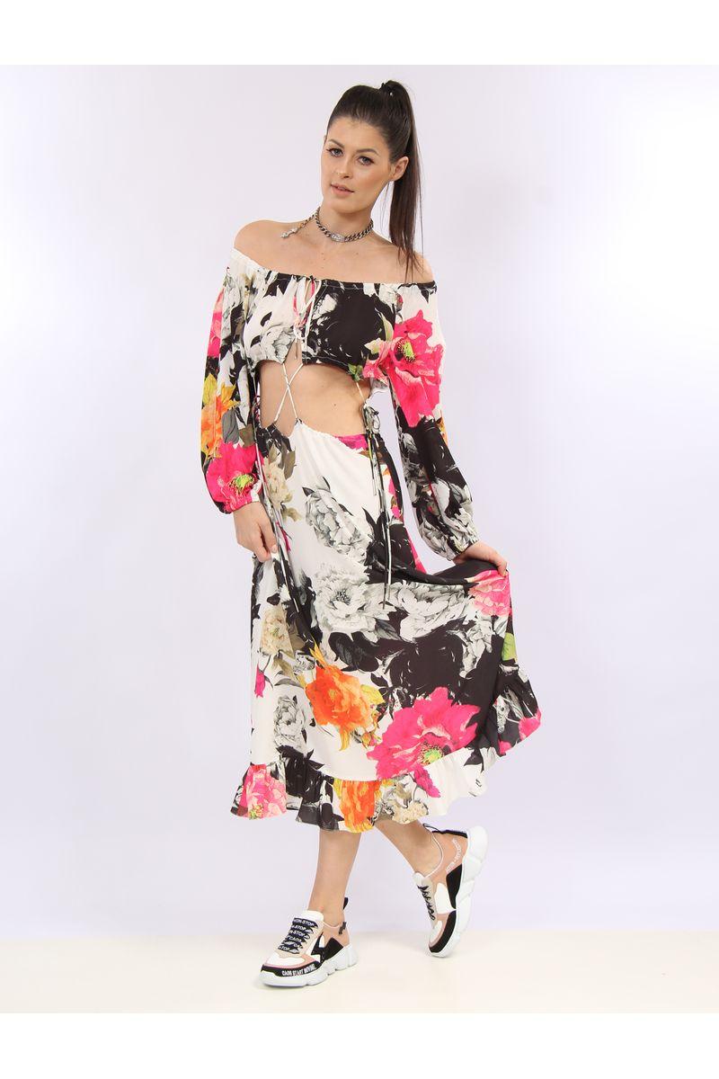 b5a021c864 Vestido Longo Ombro A Ombro Estampa Floral White - lojacaos