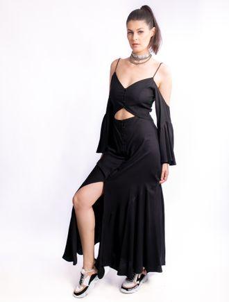 Vestido-Longo-De-Alfaiataria-Com-Alca-E-Babado
