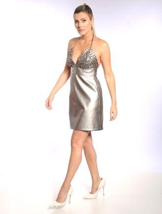 Vestido-Curto-De-Couro-Metalizado-Com-Bordado