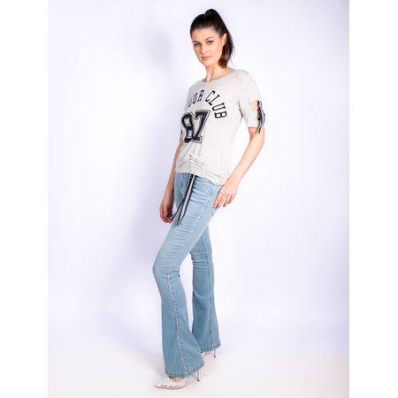 Calça Flare Jeans Com Bordado