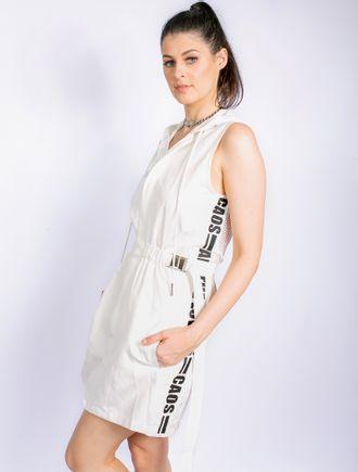 Vestido-Curto-De-Nylon-Com-Adesivo-E-Capuz