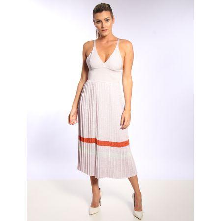 Vestido Longuete De Tricô Plissado Com Listras