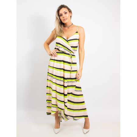 Vestido Longo Estampa Collor Stripe
