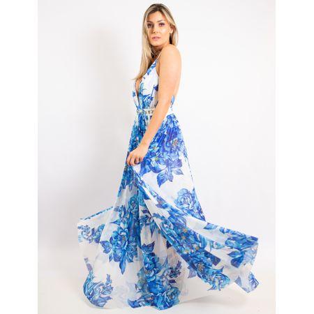 Vestido Longo De Tule Com Decote Estampa Blue Flow
