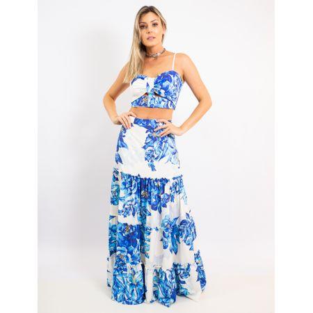Conjunto Top E Saia Estampa Blue Flower