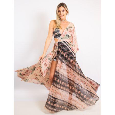 Vestido Longo De Tule Estampa Floral Com Listras