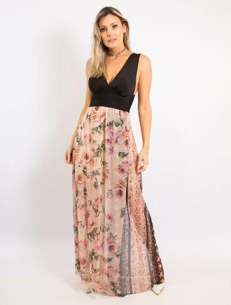 Vestido-Longo-De-Cetim-E-Trico-Estampado