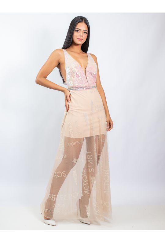 Vestido-Longo-De-Tule-Com-Decote-Cavado-Bordado-E