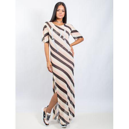 Vestido Longo De Tule Estampa Sand Stripe E Adesiv