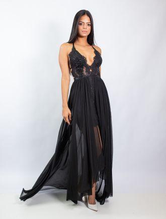 Vestido-Longo-De-Tule-E-Renda-Com-Detalhe-Nas-Cost
