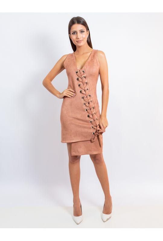 Vestido-Curto-De-Camurca-Com-Detalhe-Em-Ilhos