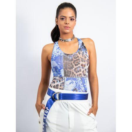 Body De Tule Fivela Costas Estampa Leopard Blue