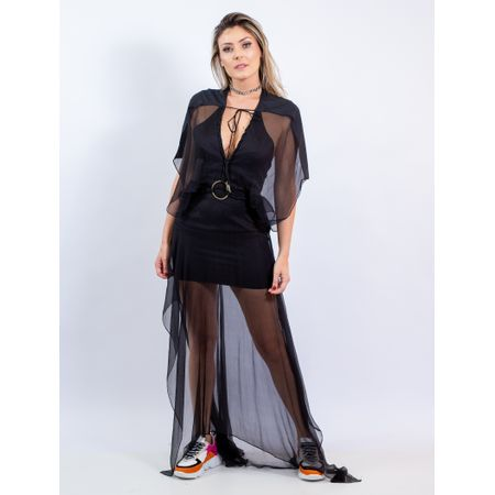 Vestido Longo De Seda Com Bordado De Macramê