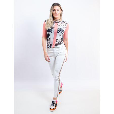 Calça Sknny Jeans Branca Com Faixa De Strass Na La