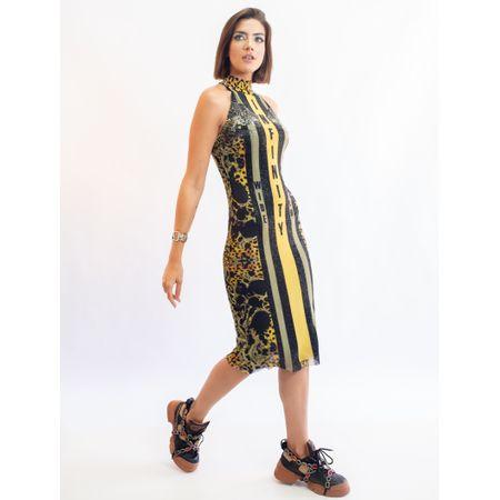 Vestido Curto De Tule Estampa Infinity E Transfer